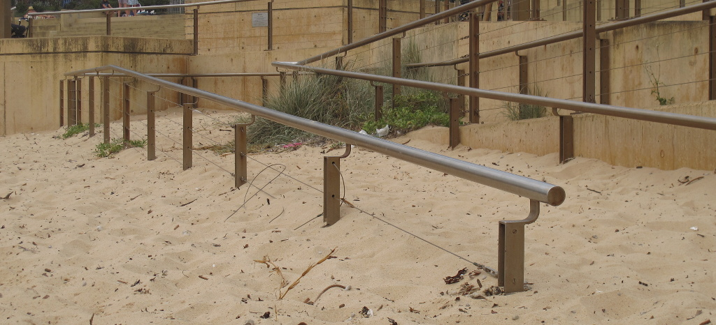 Disappearing handrails at Dee Why beach, Sydney