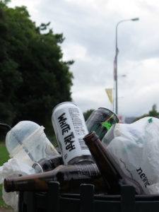 "Garage Project 'White Trash' and ""Pernicious Weed' in evidence in a bin at Trentham Station"