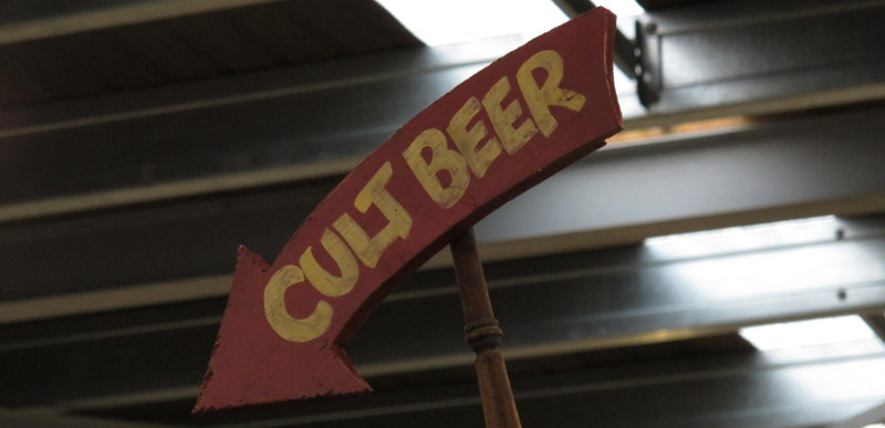 Cult Beer sign from Hashigo's portable bar (X-Ale at ParrotDog, 21 April 2012)