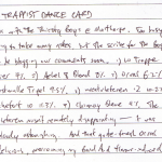 Diary II entry #83, The Trappist Dance Card