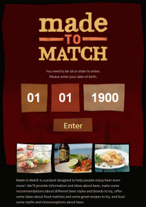 'Made to Match' landing page
