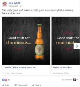 Facebook ad (now removed) for New World (Screencapped by me, 12 April 2016)