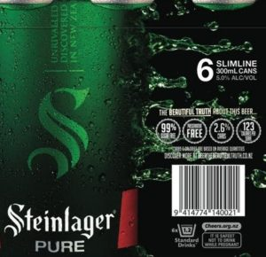Steinlager Pure's new packaging (copyright presumably Lion / Kirin)