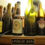 The top of the pint shelf, with an RSB bottle
