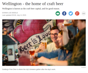 'Wellington — the home of craft beer' by Donna-Lee Biddle (Stuff.co.nz, 11 July 2015)